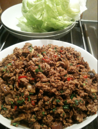 Thai ginger pork lettuce wraps