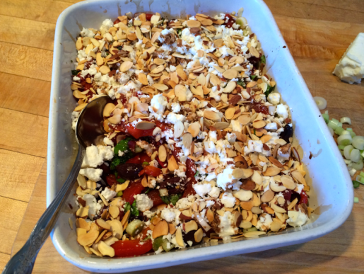 Roasted peppers with basil, olives, scallions, feta and toasted almonds