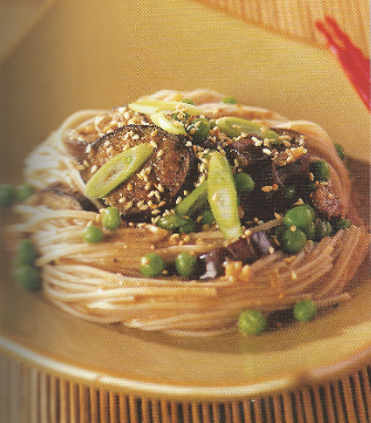 Soba noodles with miso and baby eggplant