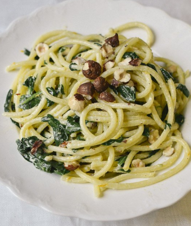 Spaghetti with Mascarpone, Meyer lemon, spinach and toasted hazelnuts